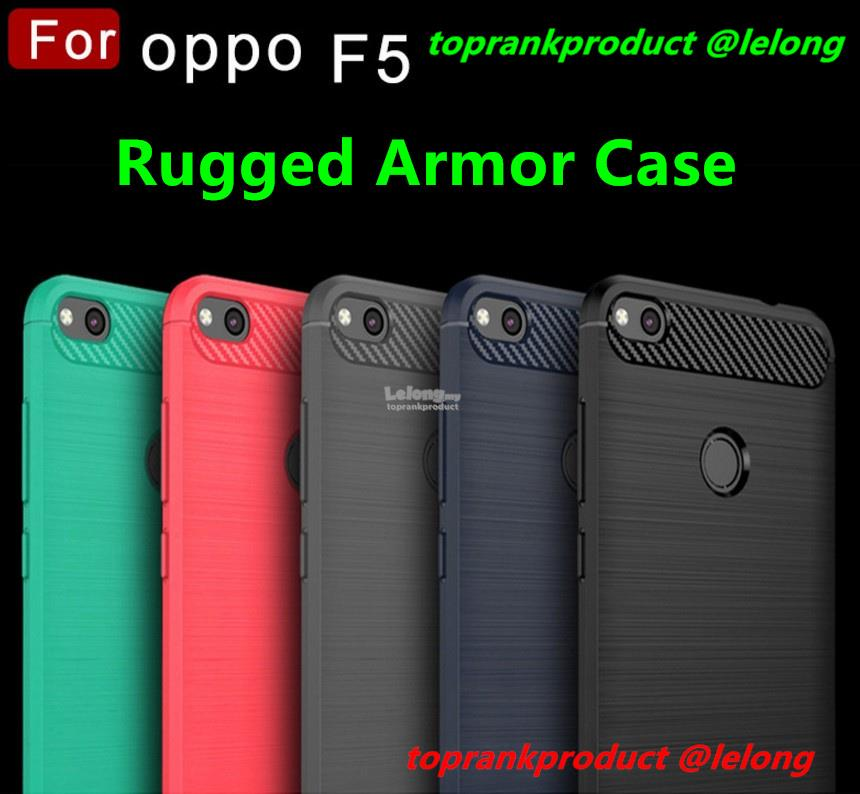 sale retailer 38df4 66047 OPPO F5 Rugged Armor Soft Silicone TPU Back Case Cover Casing