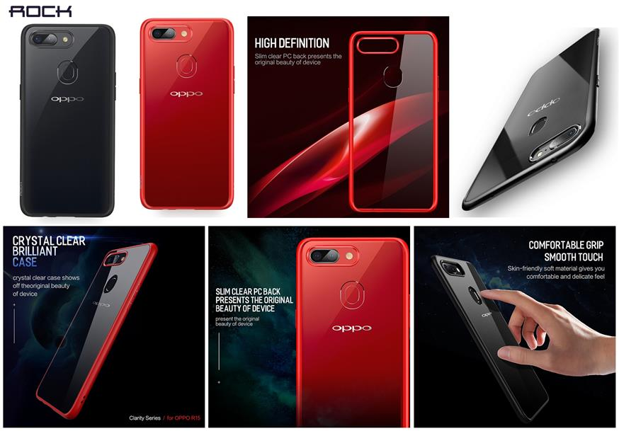 size 40 27338 0b264 Oppo R15 R15 Pro ROCK Clarity Transparent Thin Protection Case Cover