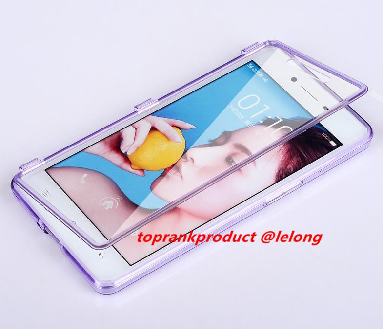 OPPO R7 Lite Plus 360 Flip Transparent Protection Case Cover Casing