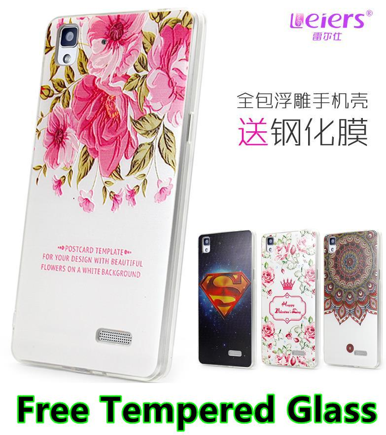 OPPO R7 Lite Plus R7S 3D Relief Case Cover Casing +Tempered Glass