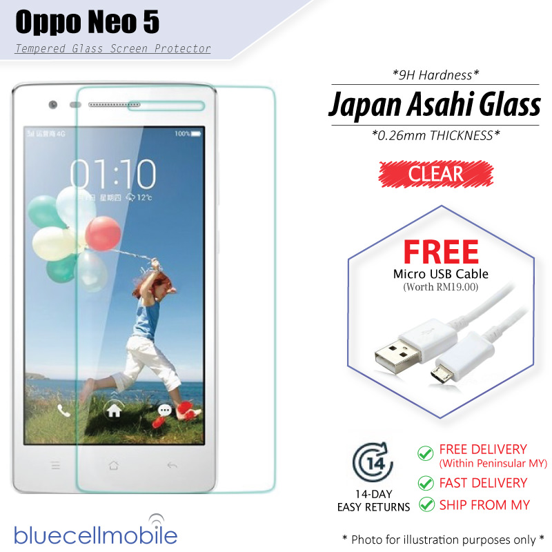 ... Oppo R831 Neo 5 Tempered Glass Protector 9H Hardness Tough Glass 0 26m