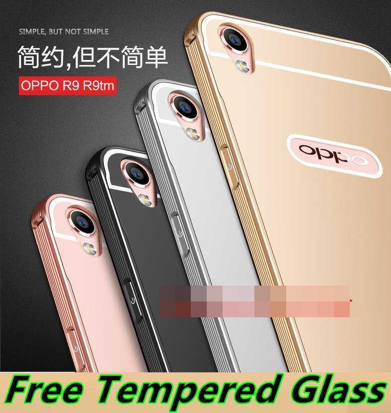 OPPO R9 F1 Plus Metal Bumper Back Case Cover Casing + Tempered Glass