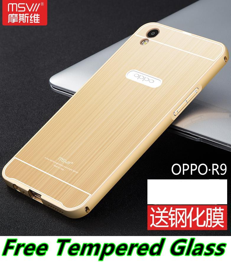 OPPO R9 F1 Plus Metal Frame Back Case Cover Casing + Tempered Glass