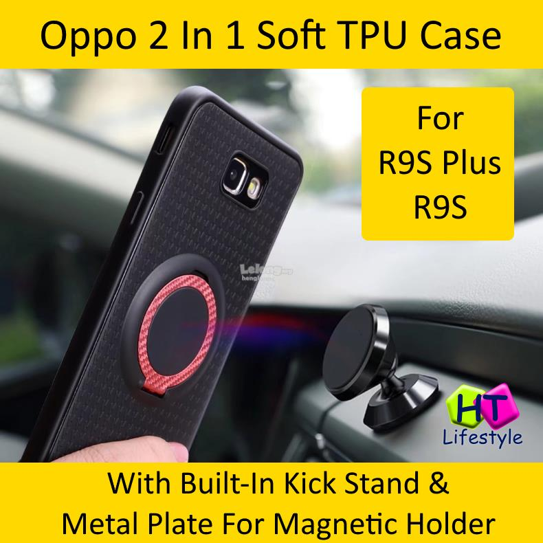 OPPO R9S Plus,R9S 2 In 1 Soft TPU Case With Kick Stand,Magnetic Holder