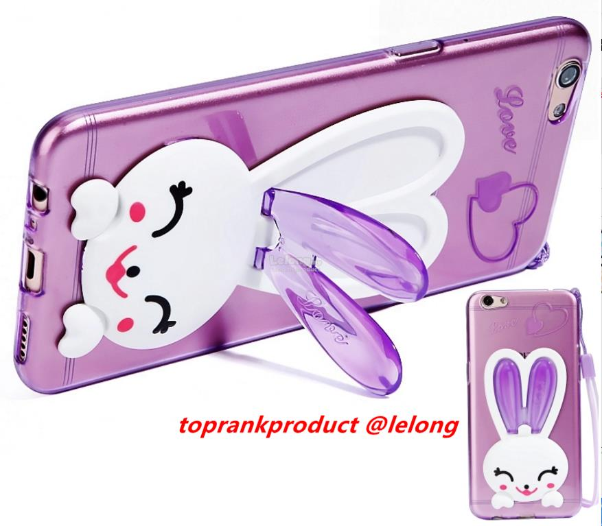 OPPO R9S / Plus Soft TPU Rabbit Stand Back Case Cover Casing