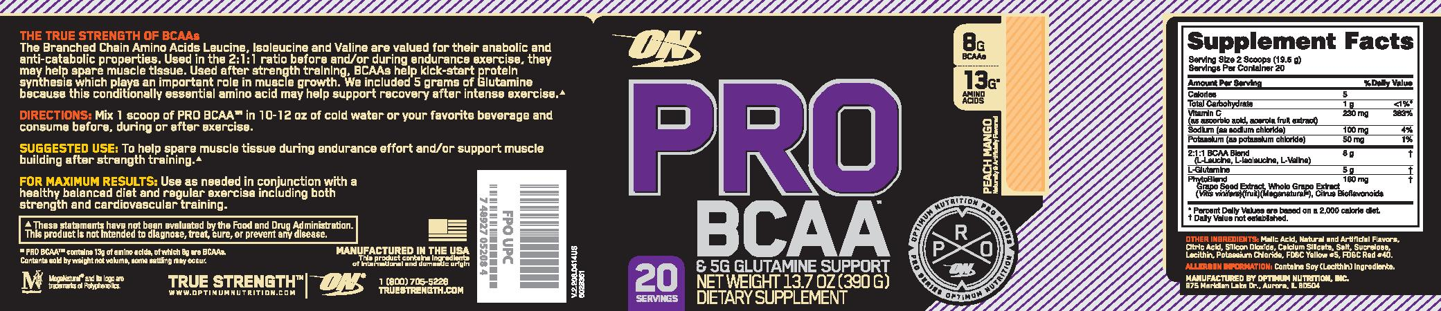 Optimum Nutrition Pro BCAA 390g - Peach Mango