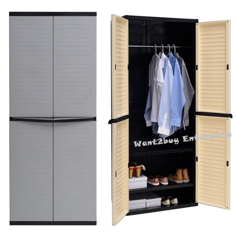 online store 3e0c0 51816 OPTIMUS Large Wardrobe 2 Door 3 Tier Locker Plastic Wardrobe Cabinet