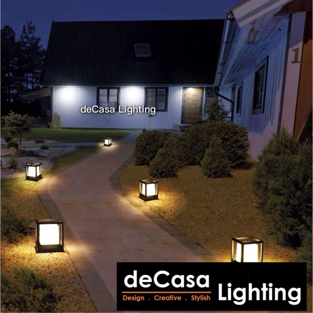 Optional SET With 9w LED Bulb Outdoor Pillar  - [LIGHT ONLY - NO BULB]