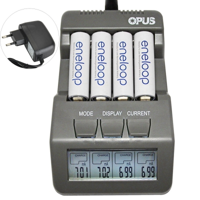 Opus BT-C700 4 Slots Intelligent AA AAA Battery Charger with LCD - EU ..