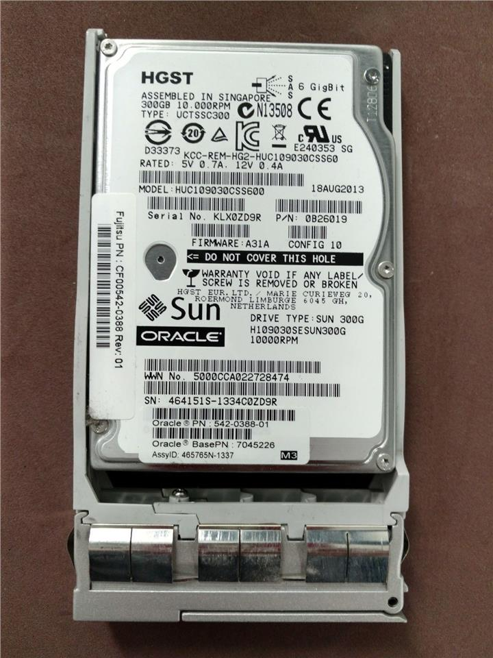 Oracle 542-0388 7045226 300GB 10K rpm 2.5-inch SAS disk drive