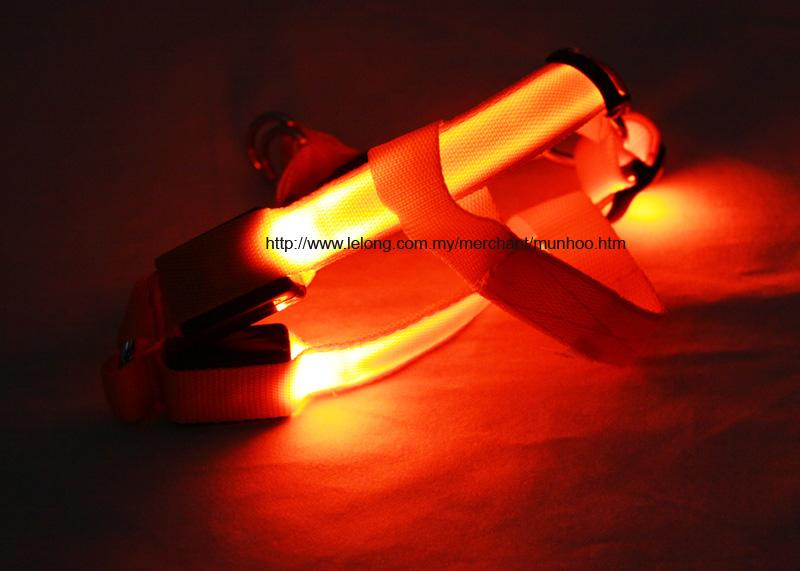Orange LED Pet Dog Neck Chest Collar Harness Strap Buckle Lock Size S