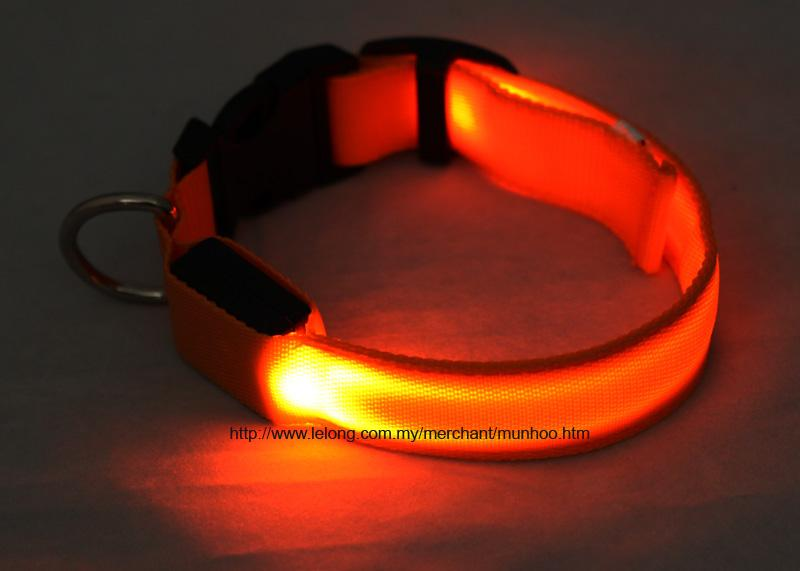 Orange LED Pet Dog Neck Collar Strap Chain Buckle Lock Size S