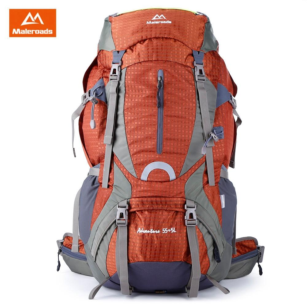 ORANGE Maleroads 60L Water Resistant Hiking Camping Backpack