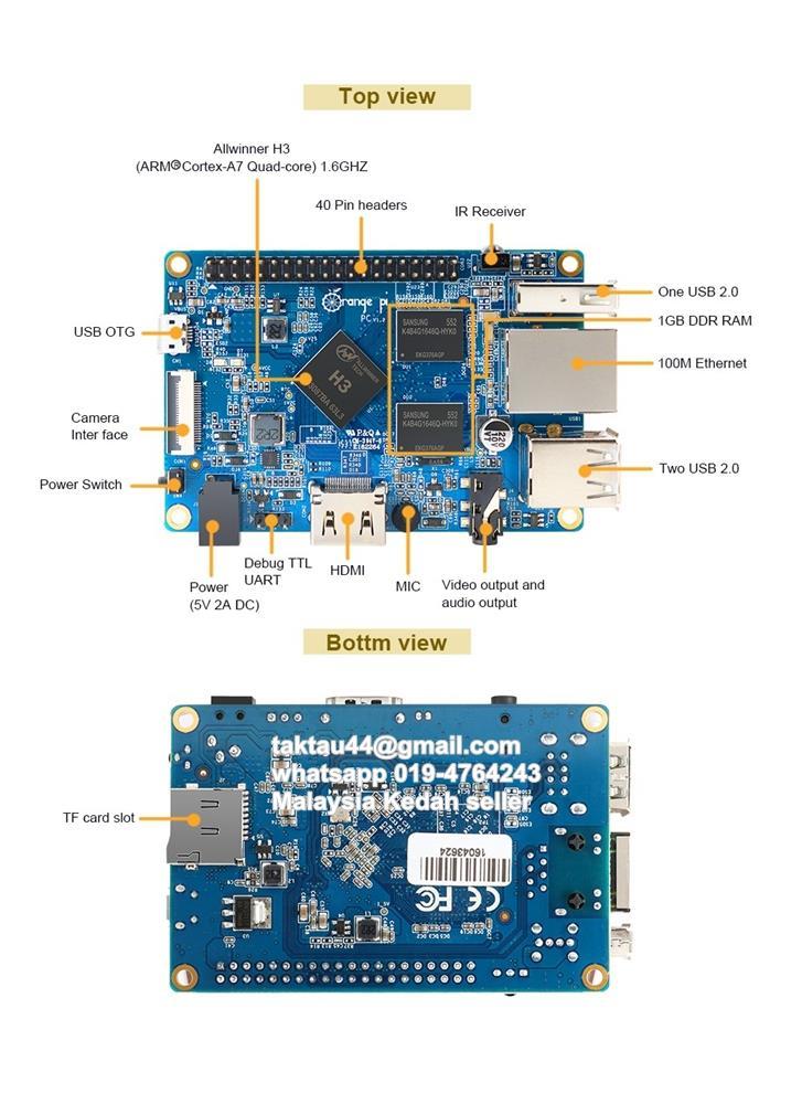 Orange Pi PC H3 Quad-core Development Board Android Ubuntu Debian