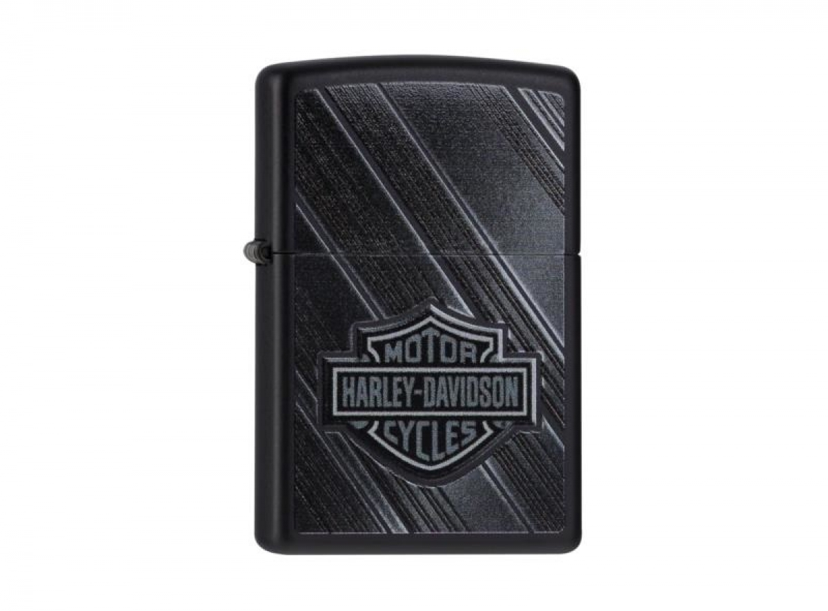 "Org.ZIPPO Lighter black color ""H.D. Diagonal Stripes"" 60000222 256583"