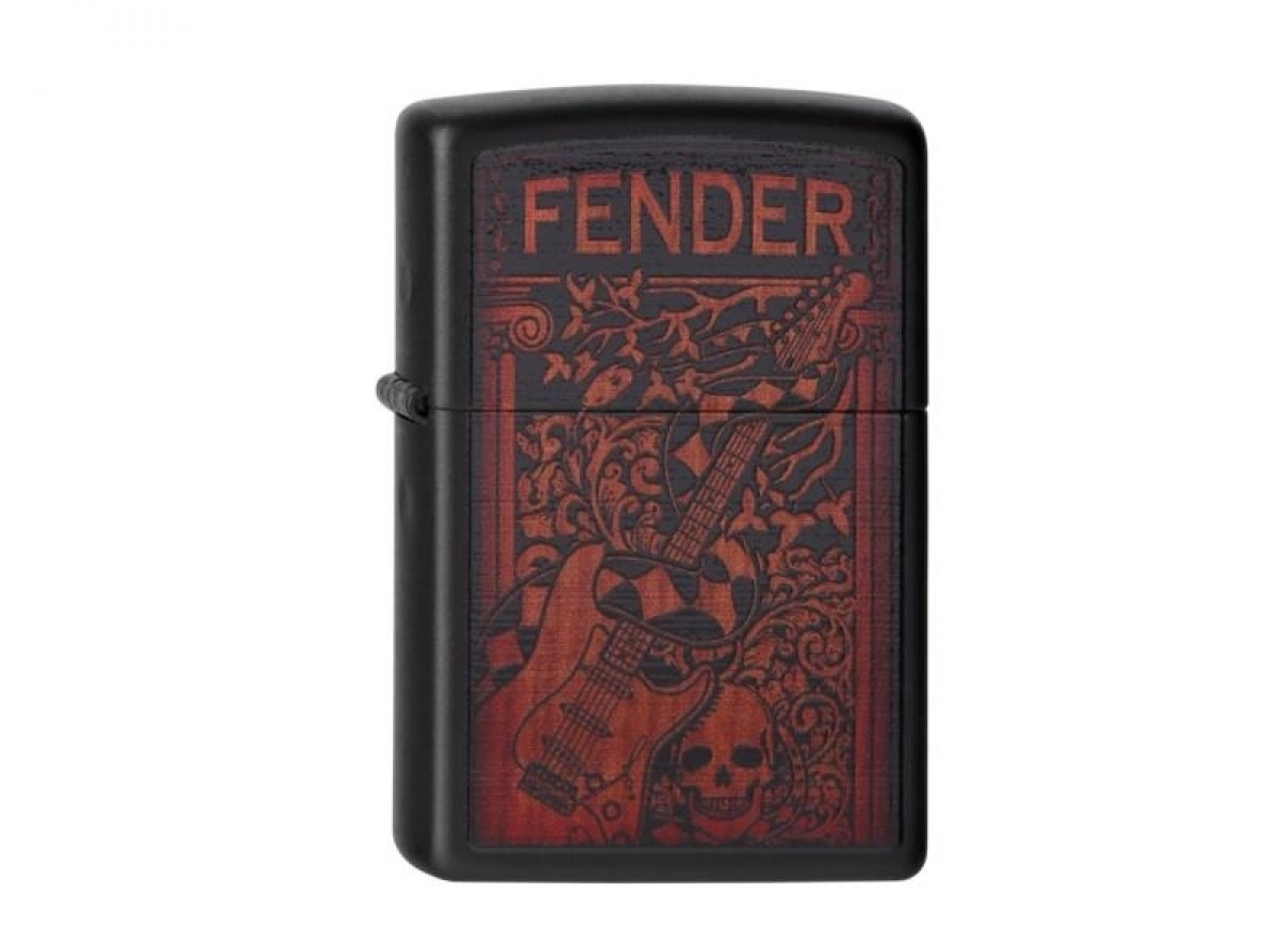 "Org. ZIPPO Lighter black matte ""Fender 2011-Guitar"" 2004265 256443"