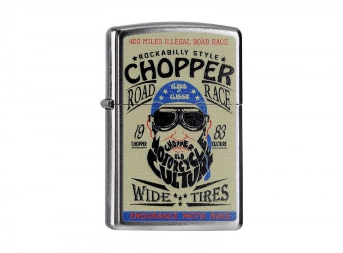 Org.ZIPPO Lighter  Chrome Arch color ?Chopper Road Race? 60000006 2565