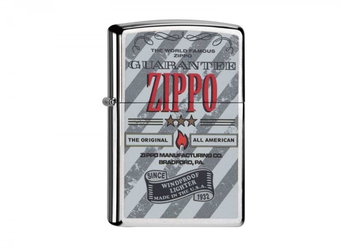 "Org.ZIPPO Lighter chrome brushed color ""Zippo Guarantee"" 60000068 2565.."