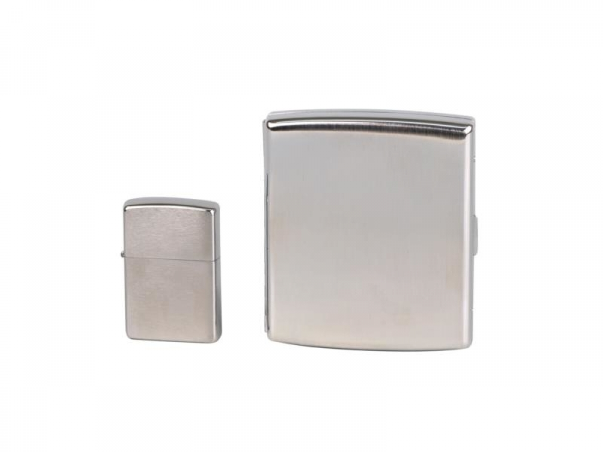 Org.ZIPPO Lighter + cigtt.case chrome brushed in Geschenk-Set - Etui a..