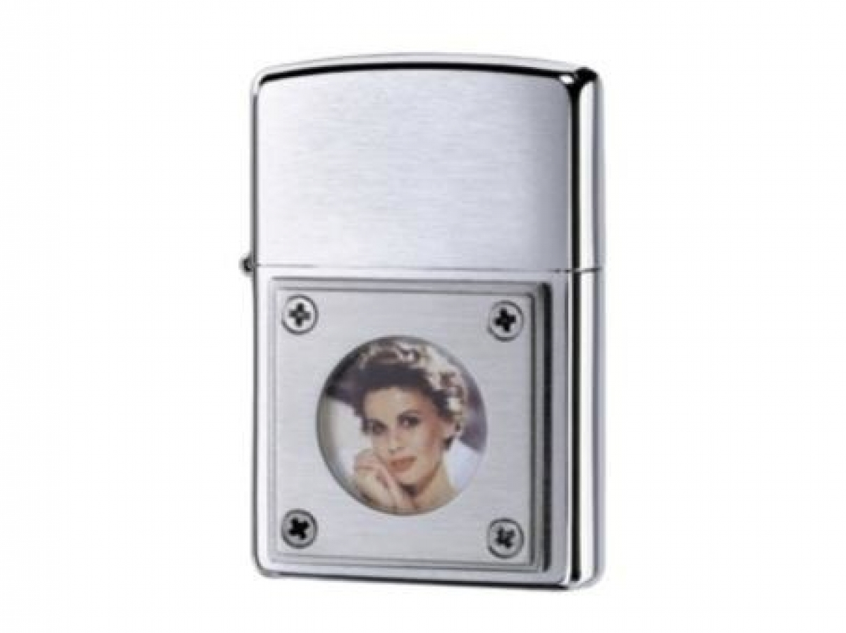 Org.ZIPPO Lighter cr.brushed picture frame round 251042
