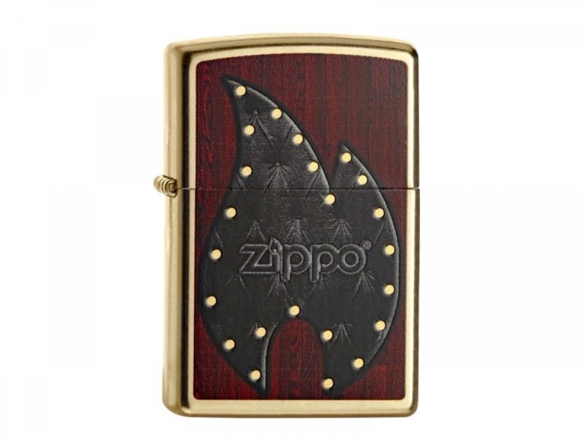Org.ZIPPO Lighter Gold Dust color ?Leather Flame? 60000424 256806