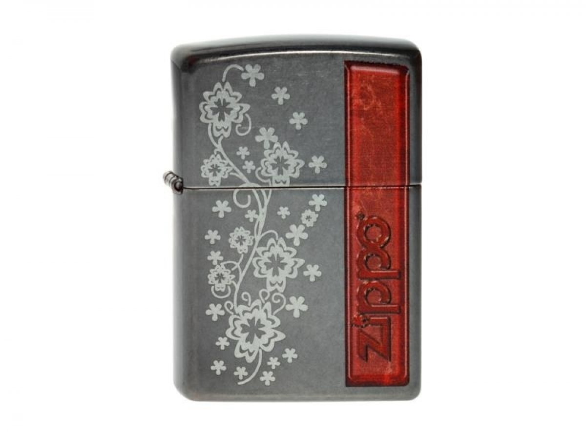 "Org.Zippo Lighter Grey Dusk grav./col. ""Floral Design"" 2003800 256192"