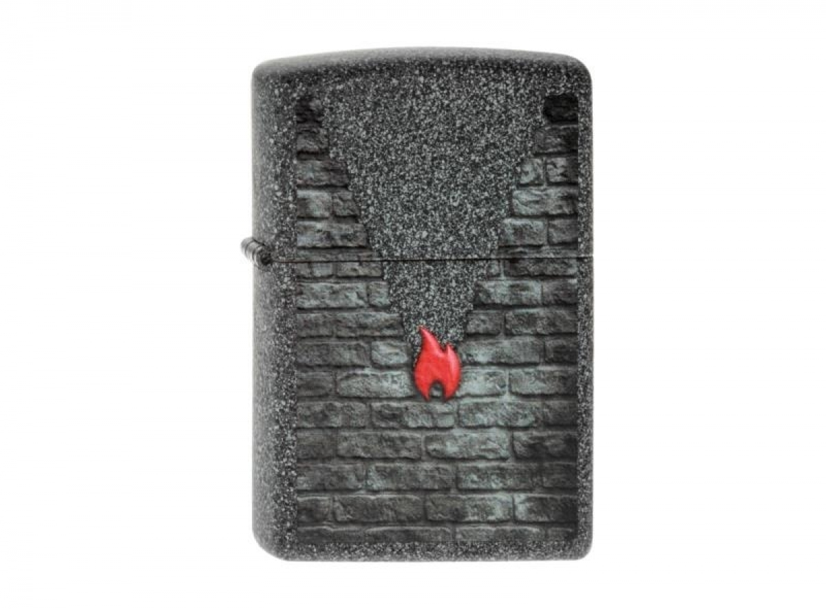 "Org.Zippo Lighter Iron Stone col. ""Brick and Flames"" 2003807 256164"