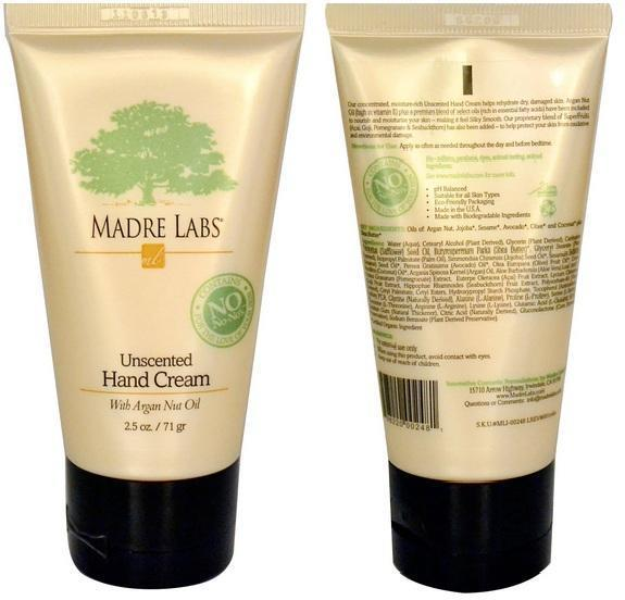 Organic Unsented Hand Cream with Argan Nut Oil, Argan Oil, USA (71g)