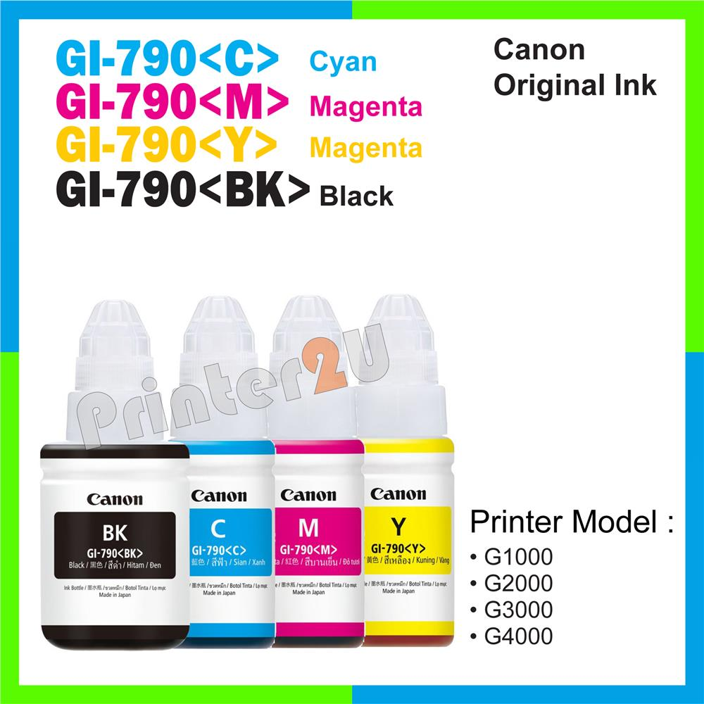 Ori Canon Original Bulk Ink GI-790 790 Full Set C/M/Y/K G3000 G4000