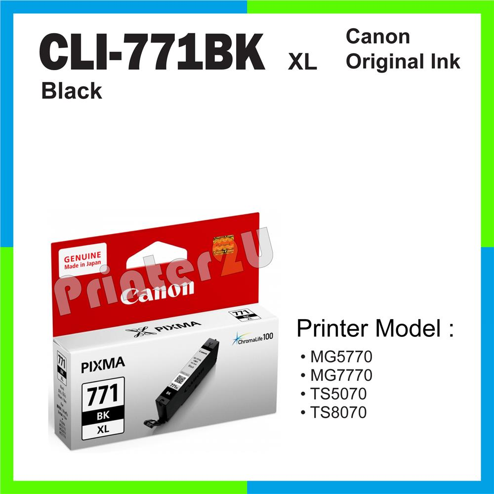 Ori Canon Original Cartridge CLI-771 BK XL Black MG7770 TS5070 TS8070
