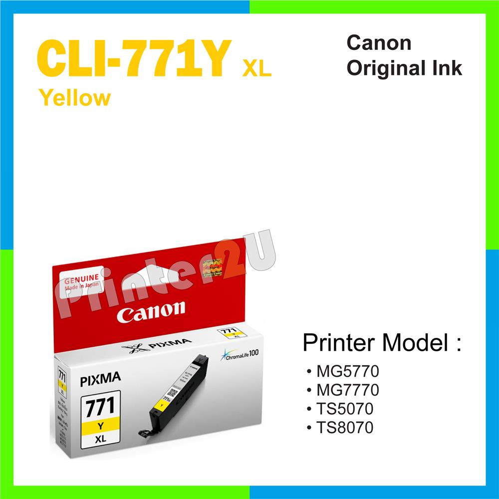 Ori Canon Original Cartridge CLI-771 Y XL Yellow MG7770 TS5070 TS8070