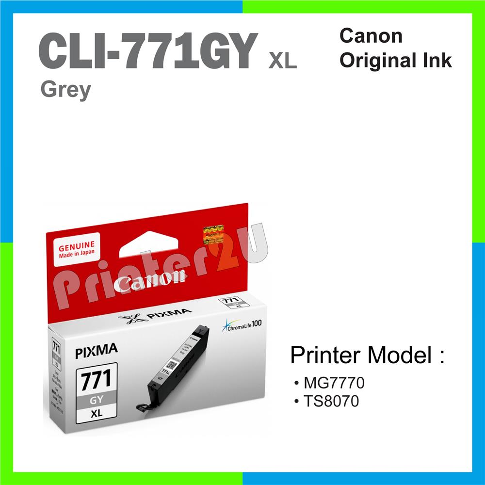 Ori Canon Original Ink Cartridge CLI-771 GY XL Grey MG7770 TS8070