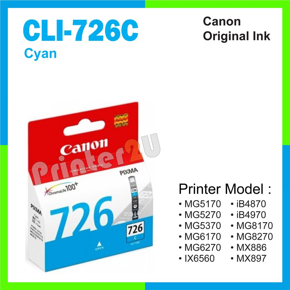 Ori Canon Original Inkjet Ink Cartridge CLI-726C Cyan iP4870 iP4970