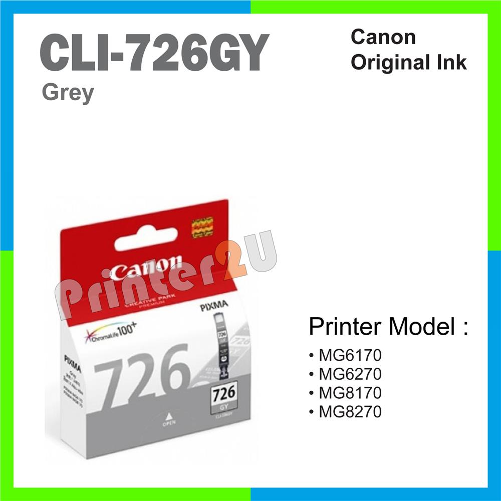 Ori Canon Original Inkjet Ink Cartridge CLI-726GY Grey MG8170 MG8270