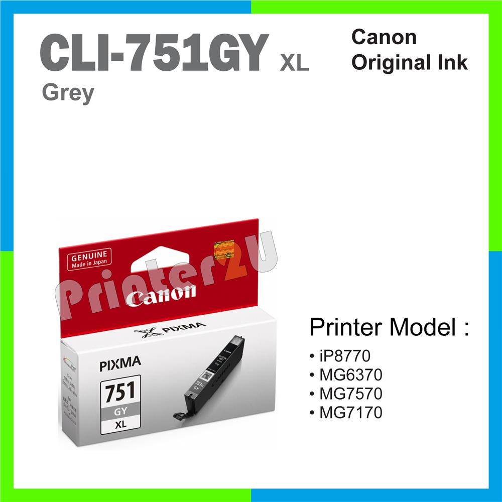 Ori Canon Original Inkjet Ink Cartridge CLI-751 GY XL Grey iP8770