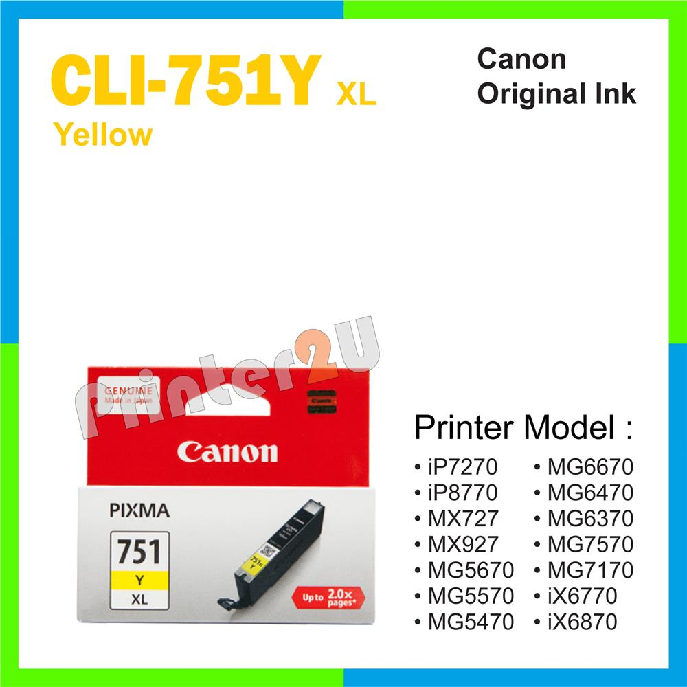 Ori Canon Original Inkjet Ink Cartridge CLI-751 Y XL Yellow iP7270
