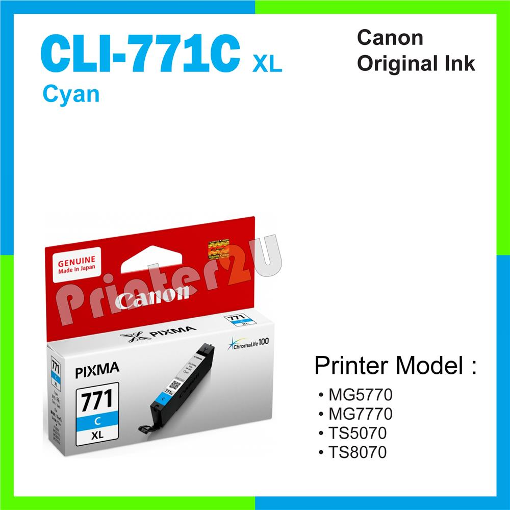 Ori Canon Original Inkjet Ink Cartridge CLI-771 C XL Cyan MG5770