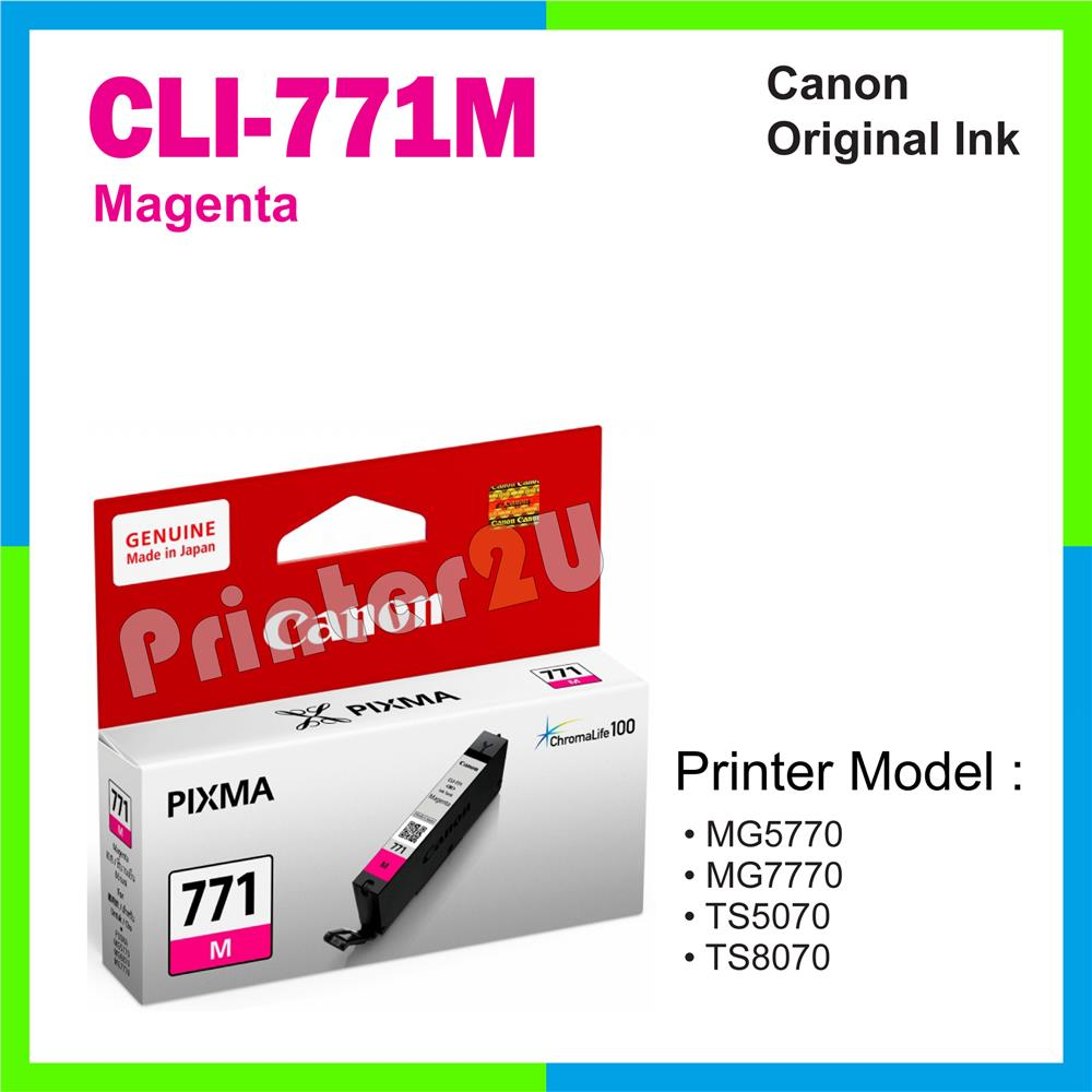 Ori Canon Original Inkjet Ink Cartridge CLI-771 M Magenta MG5770