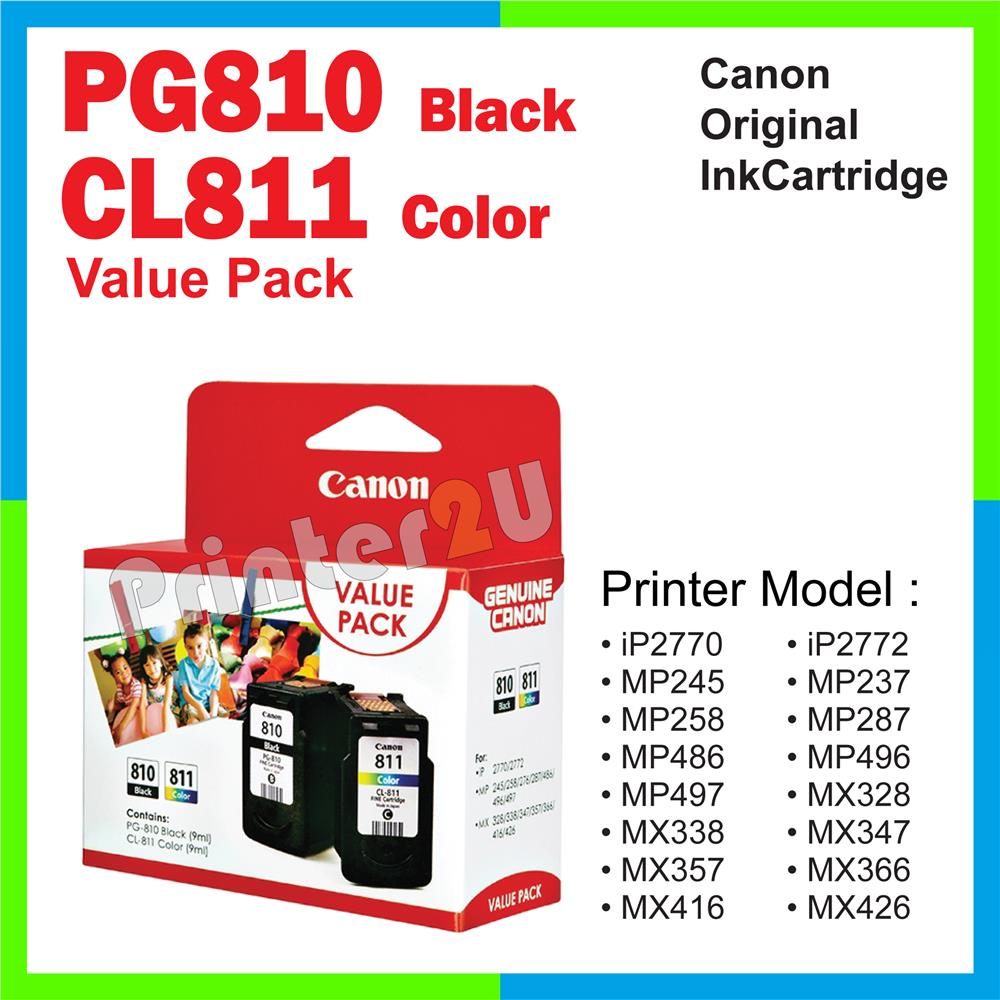 Ori Canon Original Inkjet Ink Cartridge PG810 + CL811 Value Pack MP287