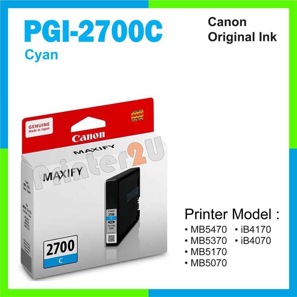 Ori Canon Original Inkjet Ink Cartridge PGI-2700C Cyan iB4170 iB4070