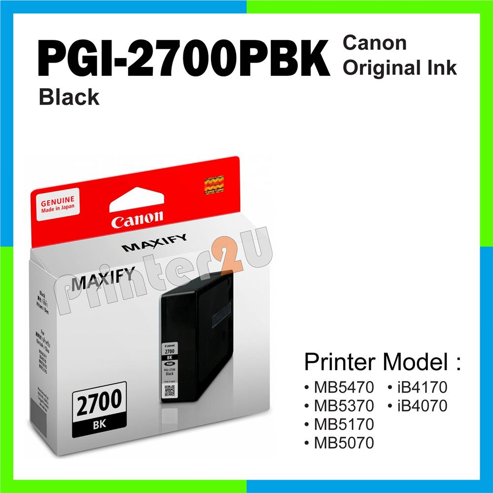 Ori Canon Original Inkjet Ink Cartridge PGI-2700PBK Black iB4170
