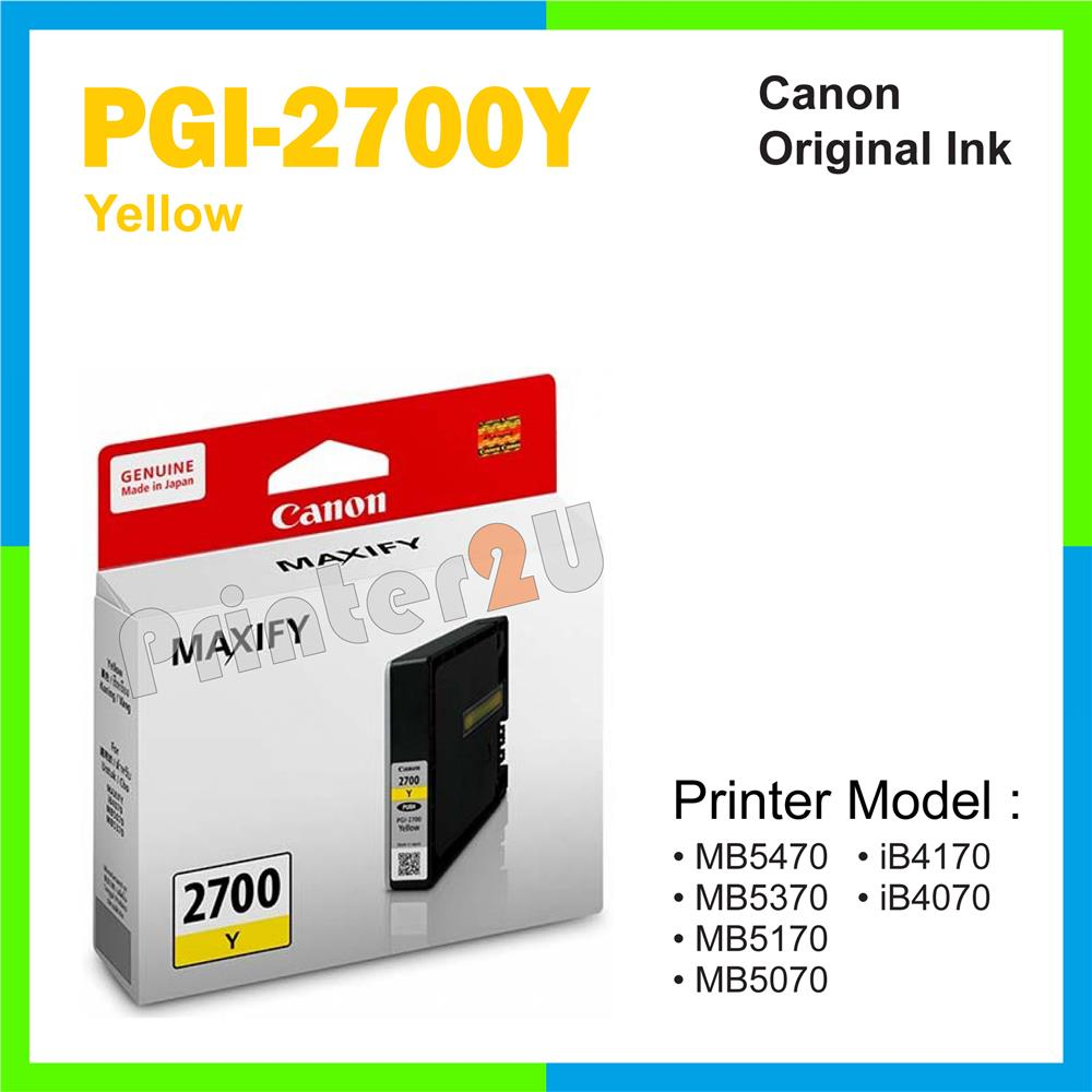Ori Canon Original Inkjet Ink Cartridge PGI-2700Y Yellow iB4170 iB4070