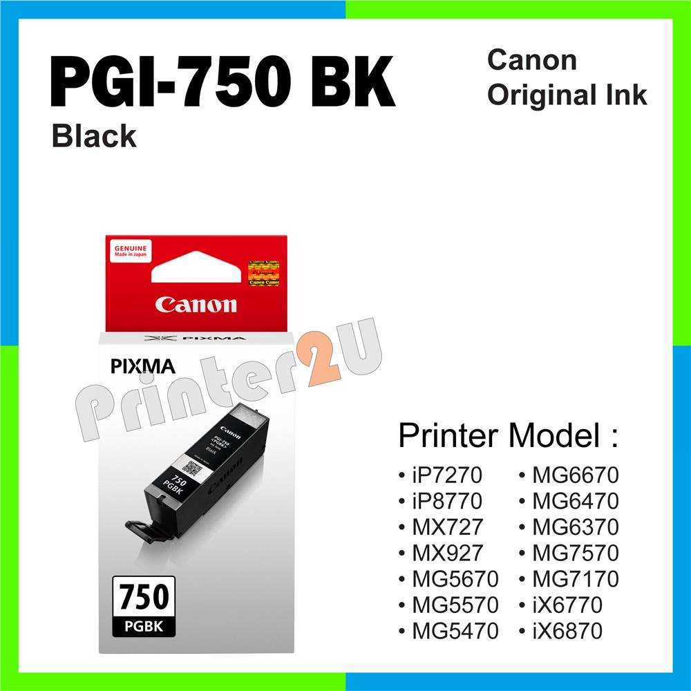 Ori Canon Original Inkjet Ink Cartridge PGI-750 BK Black iP7270 iP8770