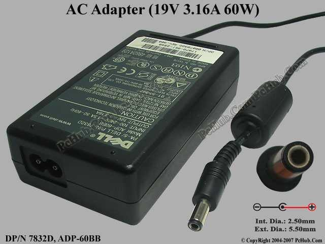 Ori Dell Inspiron Latitude AC Adapter Charger 19v 3.16a ADP-60BB 7832D