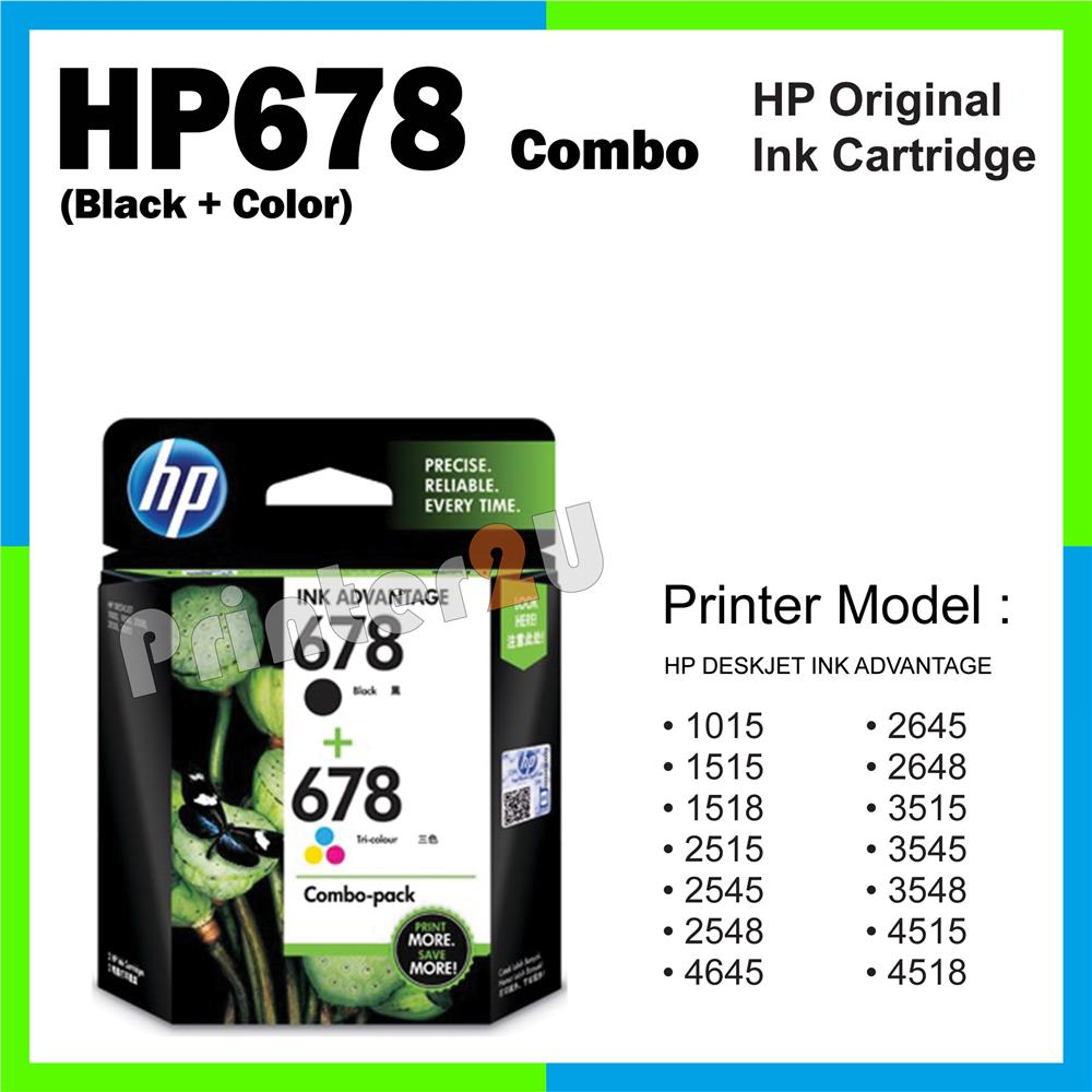 Ori HP Original Cartridge HP 678 Combo (Black + Color) 1515 1518 2515