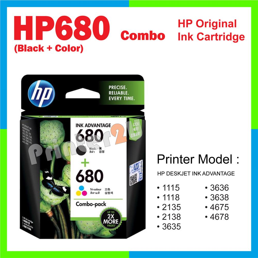 Ori HP Original Cartridge HP 680 Combo (Black + Color) 4675 4678