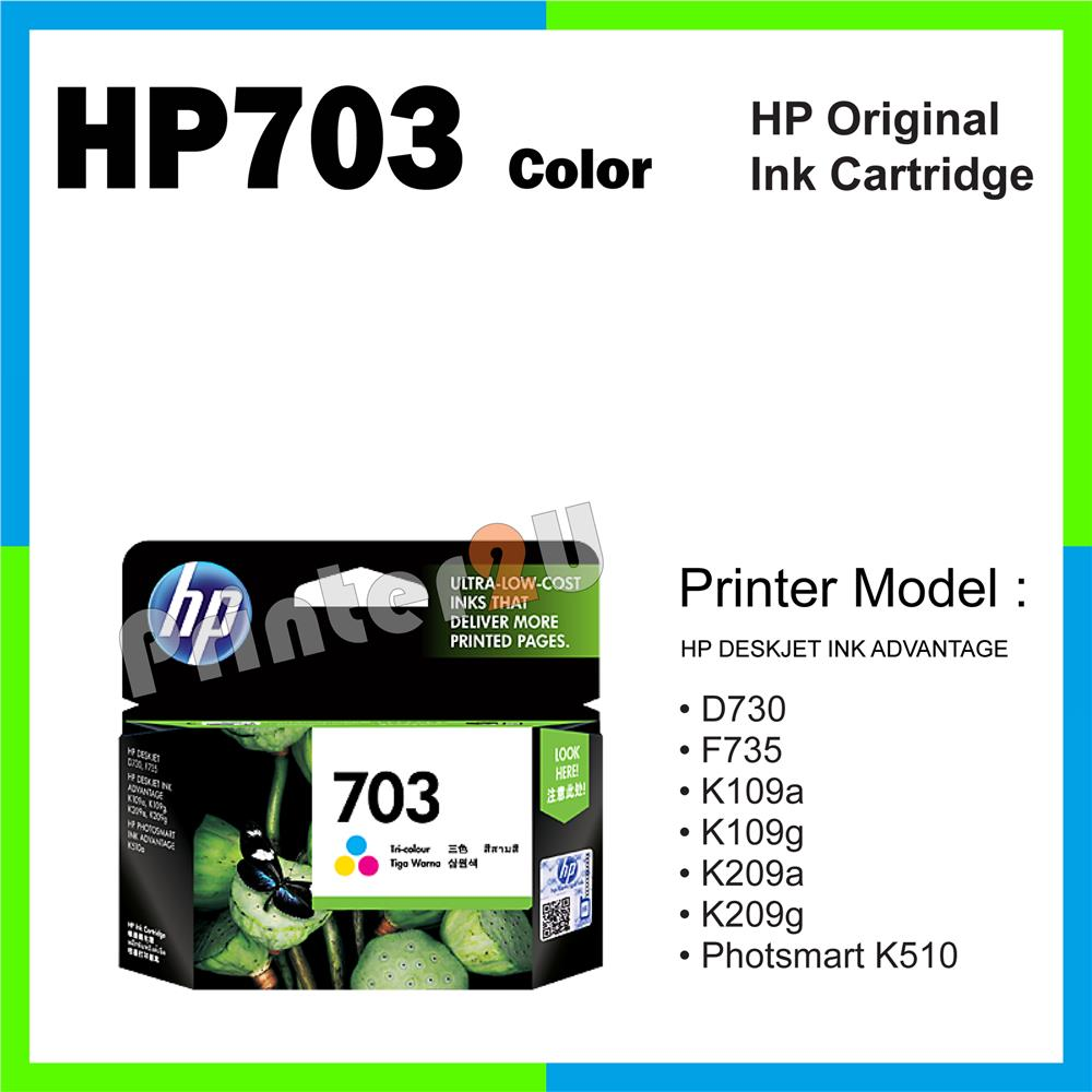 Ori HP Original Cartridge HP 703 Color D730 F735 K109a K109g K209a