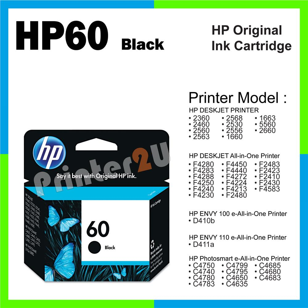 Ori HP Original Ink HP 60 Black F4280 F4283 F4288 F4250 F4240 F4230