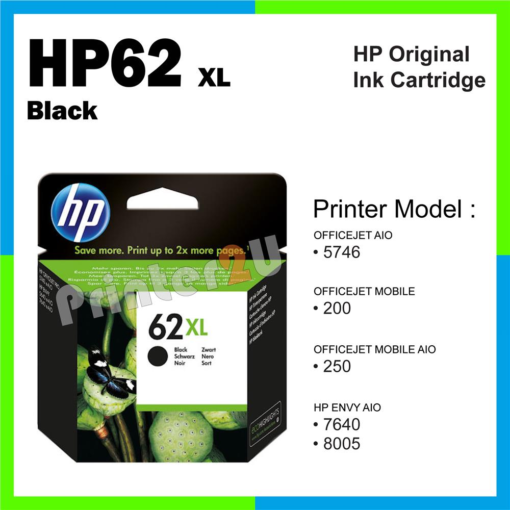 Ori HP Original Inkjet Ink Cartridge HP 62 XL Black 7640 8005