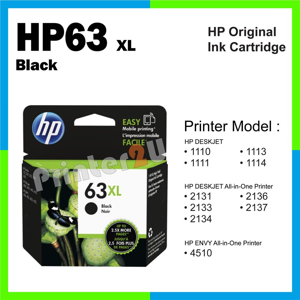Ori HP Original Inkjet Ink Cartridge HP 63 XL Black 2137 4510